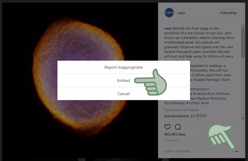 Embed code from Instagram